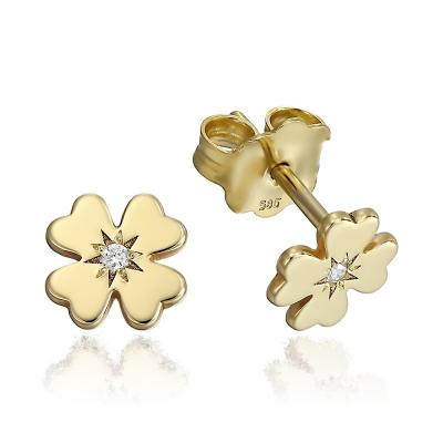 Cercei aur trifoi cu diamante