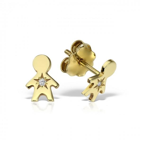 Cercei aur baietel cu diamante