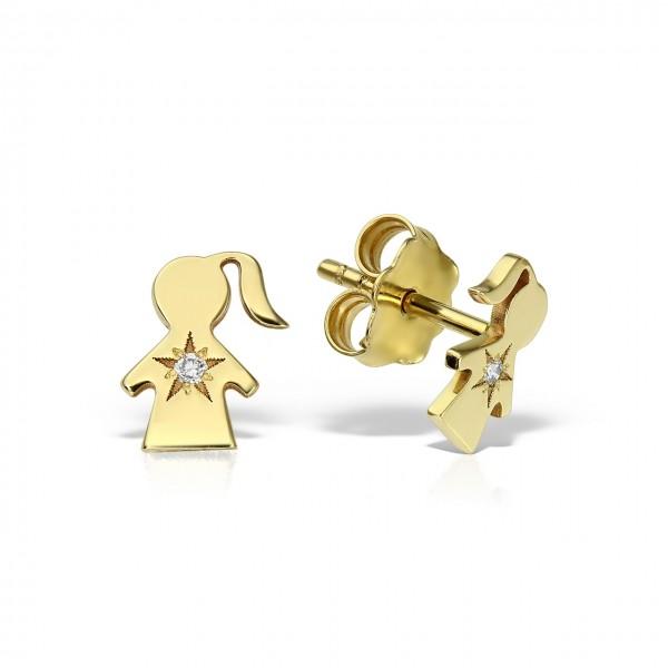 Cercei aur fetita cu diamante