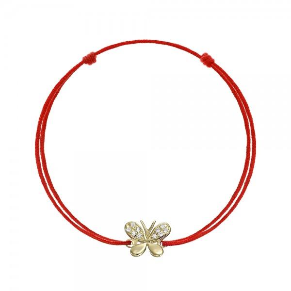 Bratara snur fluture cu zirconii aur