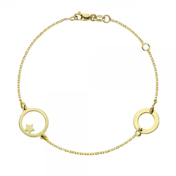 Bratara aur lant cu cercuri si stea