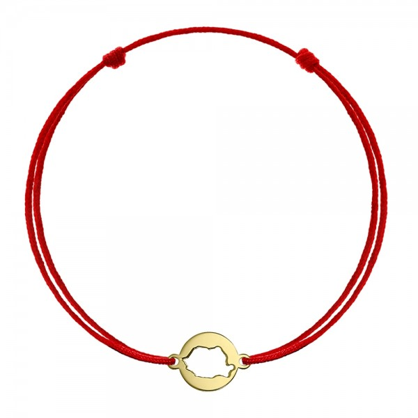 Bratara snur banut din aur cu harta Romaniei traforata