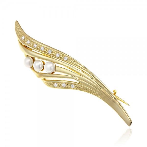 Brosa din aur feriga cu perle