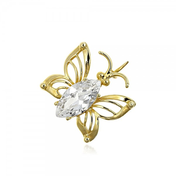 Brosa din aur fluture cu piatra