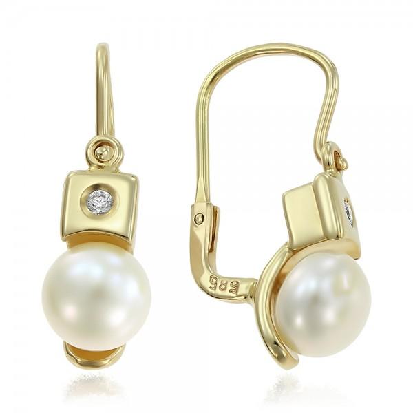 Cercei aur cu perla de cultura