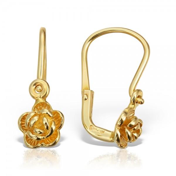 cumpărare acum vânzare la cald marca faimoasa cercei pentru copii aur 14k cu floricica - Bijuteria Safir