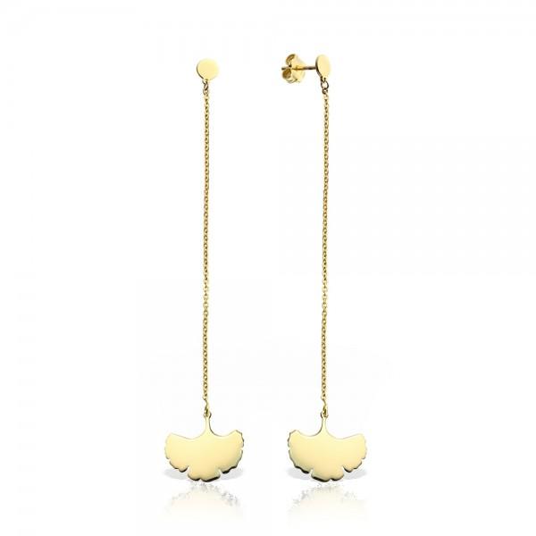 Cercei aur frunza de ginkgo cu lantisor