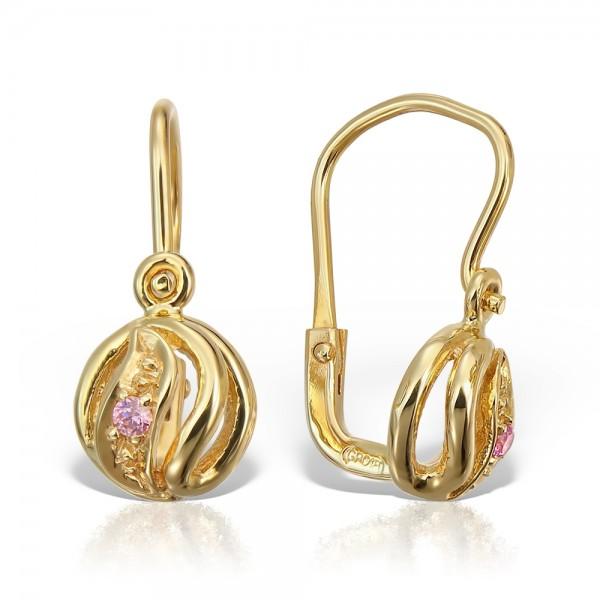 Cercei aur cu piatra roz
