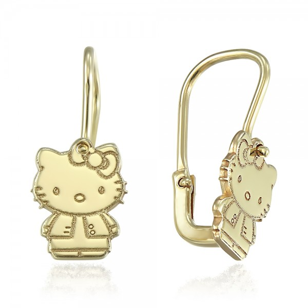 Cercei aur Hello Kitty cu tortite
