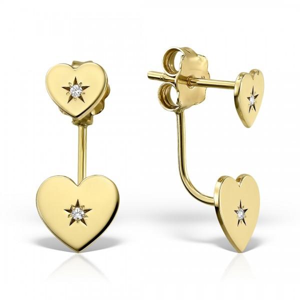 Cercei aur inima cu diamante