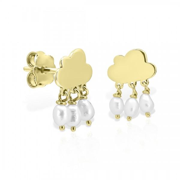 Cercei aur norișori și perle picături