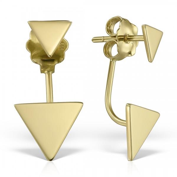 Cercei aur cu triunghiuri
