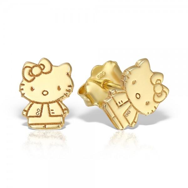 Cercei aur Hello Kitty