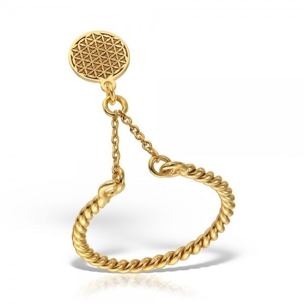 Inel aur cu banut si lantisor floarea vietii
