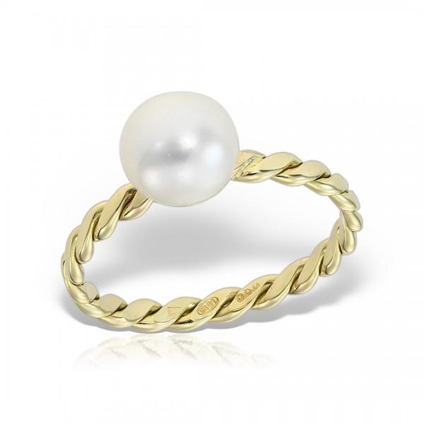 Inel aur spirala cu perla