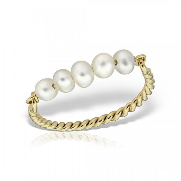 Inel aur spirala cu perle