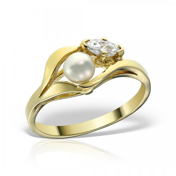 Inel aur cu perla si piatra zirconia