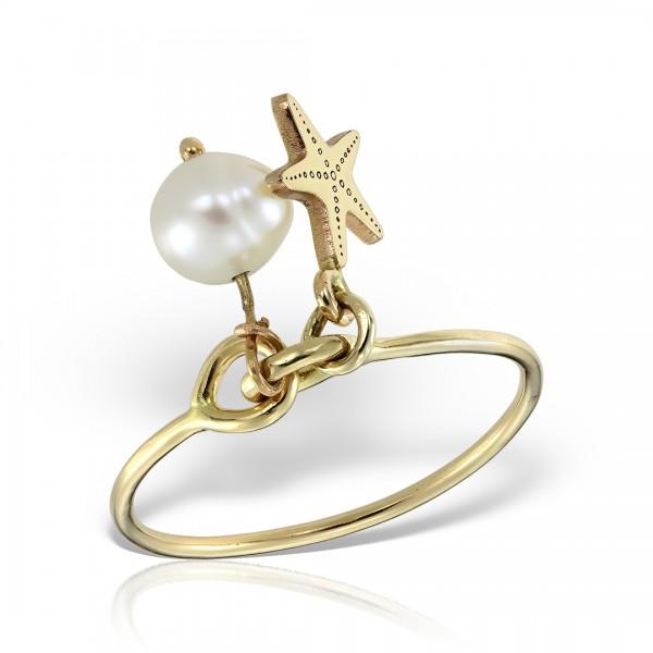 Inel aur cu perla si stea de mare