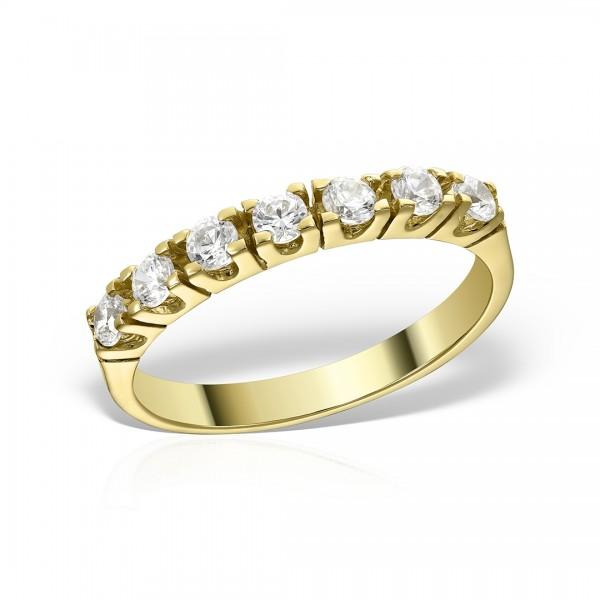 Inel aur semi-eternity cu pietre zirconia