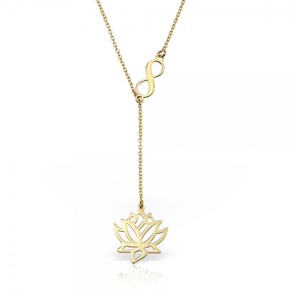 Colier aur Floare de Lotus si semn Infinit