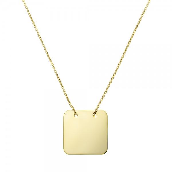Colier aur pandantiv patrat