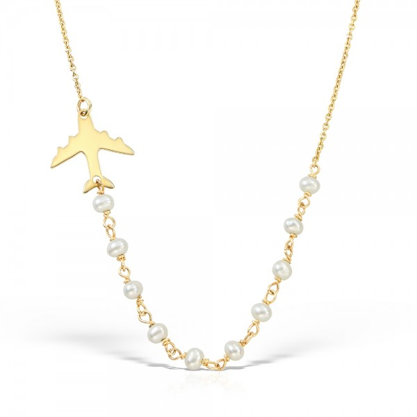 Colier aur avion cu perle-n zbor