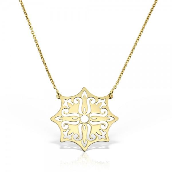 Colier aur floare stilizata