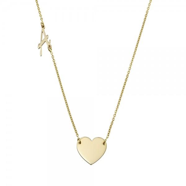 Colier aur cu inimioara si initiala
