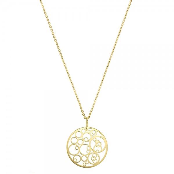 Colier aur cu pandantiv cercuri concentrice