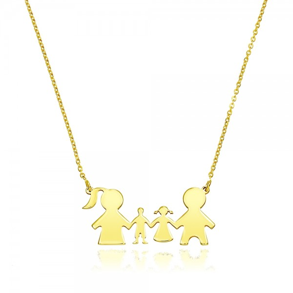 Colier aur familie cu doi copii