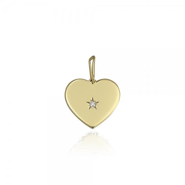 Pandantiv din aur inima cu diamant