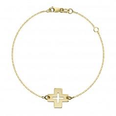 Bratara aur cu cruce traforata