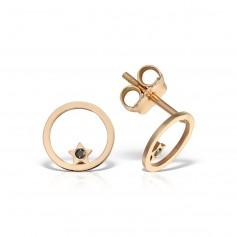 Cercei aur steluta in cerc cu diamante negre