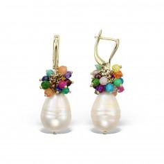 Cercei aur perla baroque si pietre multicolore
