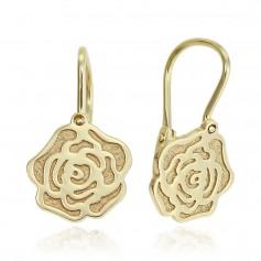 Cercei aur tortita cu trandafiri