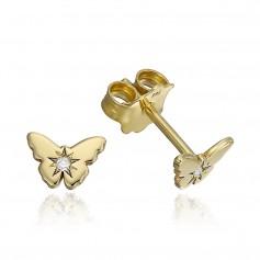 Cercei aur fluturasi cu diamante