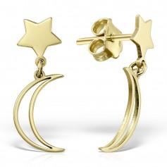 Cercei aur cu stea si semiluna