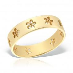 Inel aur cu flori conturate