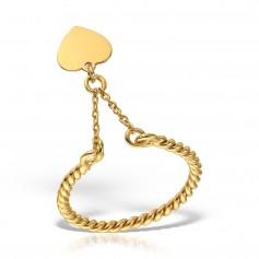 Inel aur cu lantisor si inima