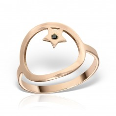 Inel minimalist cerc si stea cu diamant