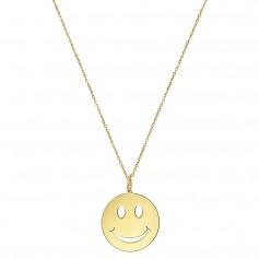 Colier aur cu pandantiv Smiley Face