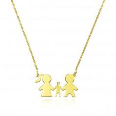 Colier aur familie cu un copil