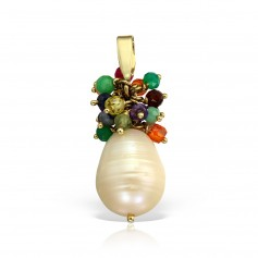 Pandantiv perla baroque si pietre naturale