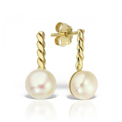 Cercei aur cu perle