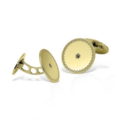 Butoni rotunzi din aur cu diamante