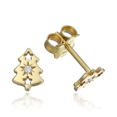Cercei aur braduti cu diamante