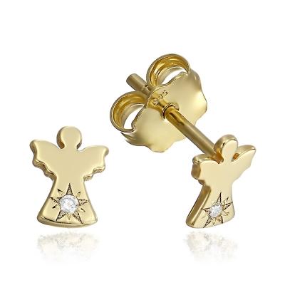 Cercei aur ingerasi cu diamante