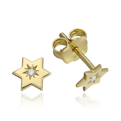 Cercei aur stelute cu diamante