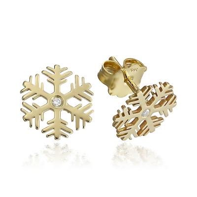 Cercei aur fulgi de nea cu diamante