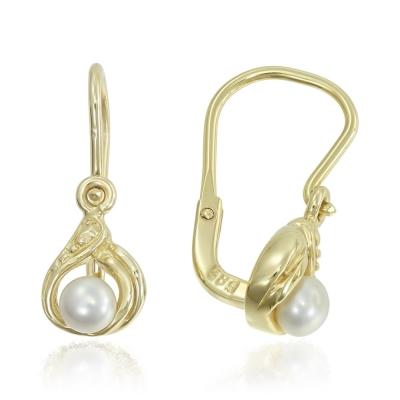Cercei aur picatura cu perla de cultura